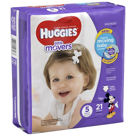 Huggies Little Movers Diapers, Size 5 - 21 ea