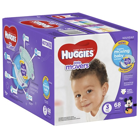 Huggies Little Movers Diapers, Size 3 - 68 ea