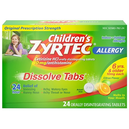 Zyrtec Allergy 24 Hour 10mg Dissolve Tabs