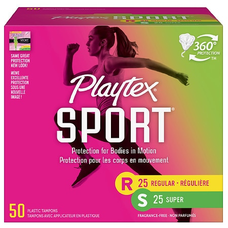 Image of Playtex Sport Tampons Unscented Multi-Pack Regular/Super Absorbency Unscented, Regular & Super - 50.0 ea