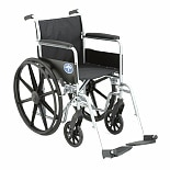 Medline Excel Basic Wheelchair Permanent Full Length Arms 18 x 16 Seat Silver