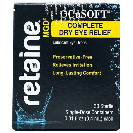Image of Ocusoft Retaine MGD Complete Dry Eye Relief Lubricant Eye Drops Single-Dose Containers - 30 ea