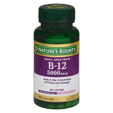 Nature's Bounty Dual Spectrum B-12 5000mcg Energy Support, Tablets - 30 ea