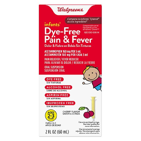 Walgreens Infants' Pain & Fever Reducer, Dye Free Cherry - 2 oz.