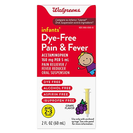 Walgreens Infants' Pain & Fever Reducer, Dye Free Grape - 2 oz.