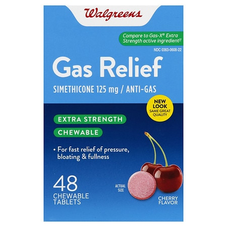 Walgreens Extra Strength Gas Relief Chewable Cherry - 48 ea