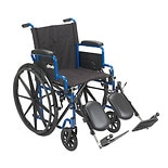Drive Medical Blue Streak Wheelchair with Flip Back Desk Arms and Elevating Leg Rests 18 Inch Seat Blue
