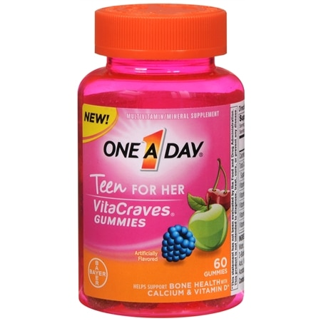 One A Day VitaCraves Teen Vitamins For Her Gummies Assorted - 60.0 ea