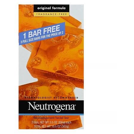 Neutrogena Transparent Facial Bar, Original Formula Fragrance Free - 3.5 oz. x 3 pack
