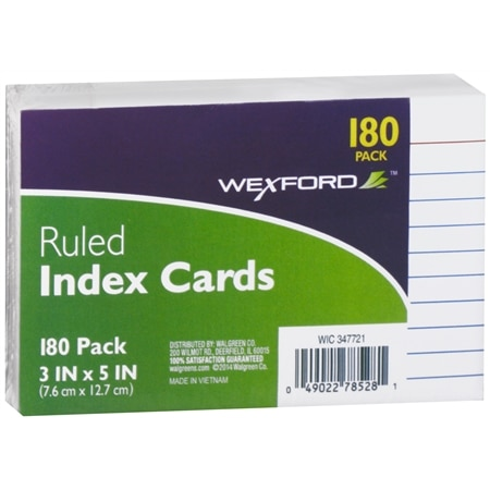 Wexford Ruled Index Cards 3 x 5 Inch - 180 ea