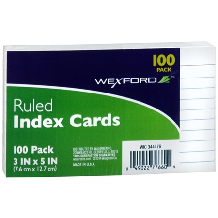 Wexford Ruled Index Cards 3 x 5 Inch - 100 ea - School Supplies