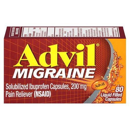 Advil Migraine Solubilized Ibuprofen, 200 mg, Liquid Filled Capsules - 80 ea