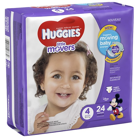 Huggies Little Movers Diapers, Size 4 - 24 ea