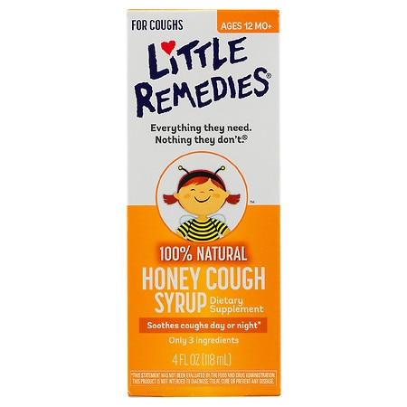 Little Remedies Honey Cough Syrup, 100% Natural, 12 Months+ Honey - 4 fl oz