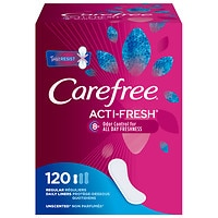 Deals on 240CT Carefree Acti-Fresh Regular Pantiliners Unscented Flat