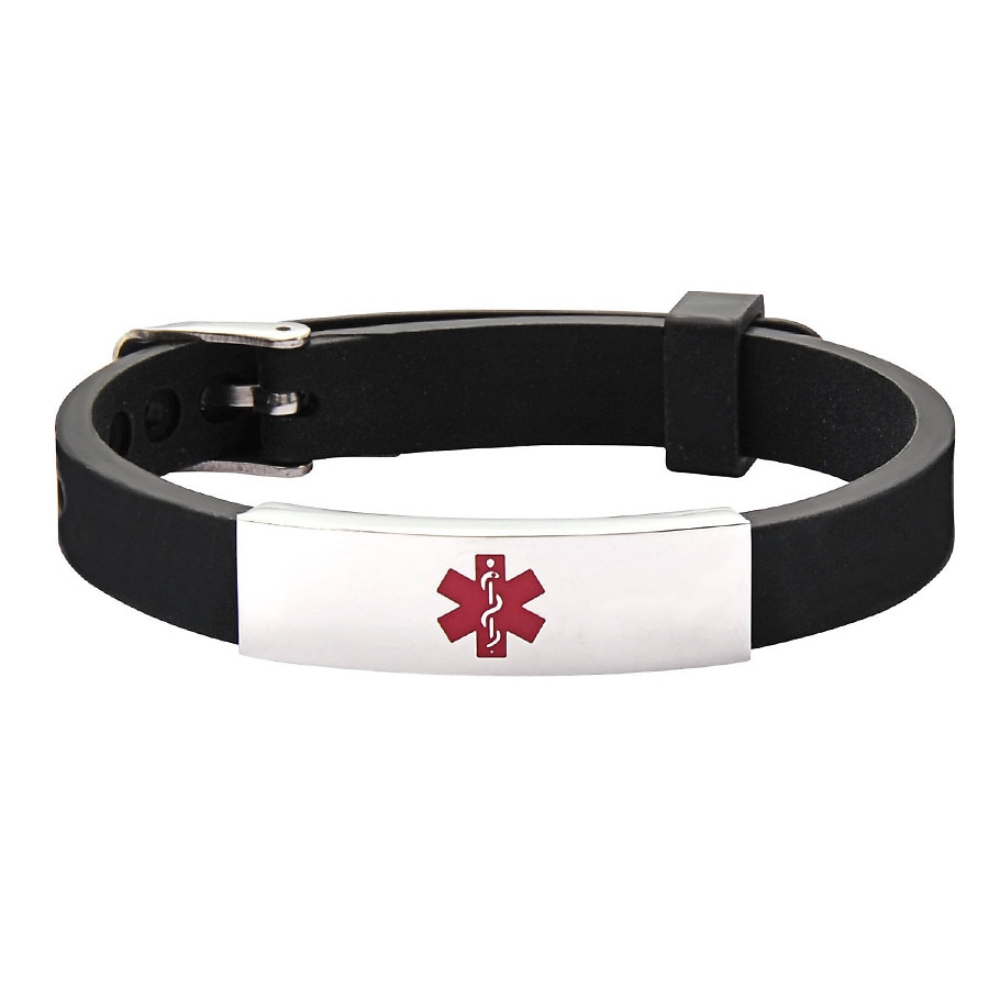 Hope Paige Rubber Watch Band Buckle Medical Id Black