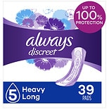 Always Discreet Incontinence Pads, Maximum, Long Length