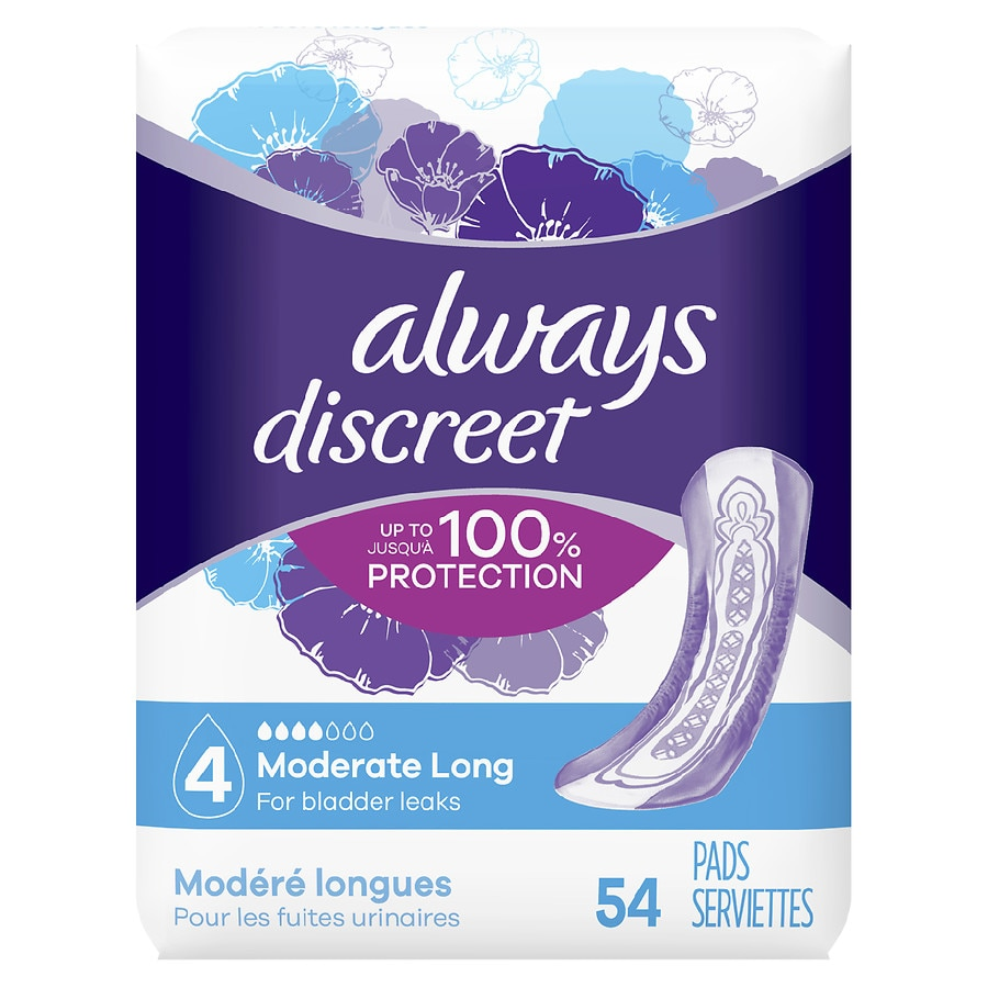 Always Discreet Incontinence Pads for Women, Moderate Absorbency Long Length