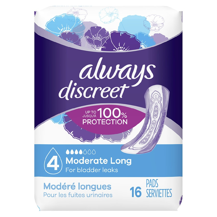 Always Discreet Incontinence Pads For Women Moderate Long