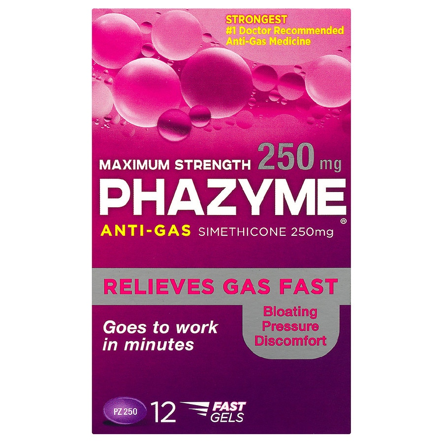 phazyme maximum strength 250mg anti gas simethicone soft gels
