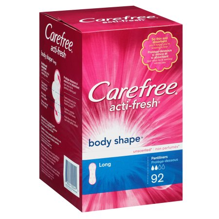 Carefree Body Shape Pantiliners Unscented, Long -