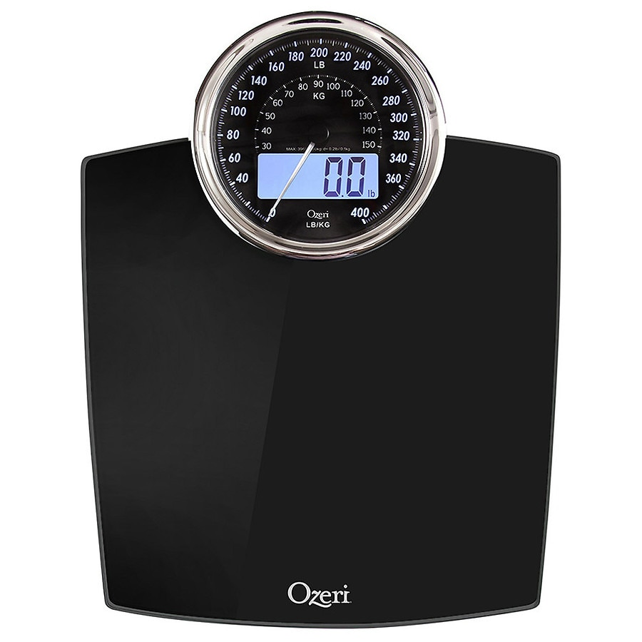 . Ozeri Rev Digital Bathroom Scale with Electro Mechanical Weight Dial Black