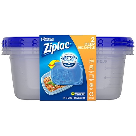 Ziploc Containers Large Rectangle - 2 ea