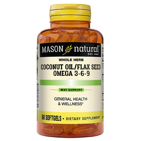 Mason Natural Coconut Oil / Flax Seed Omega 3-6-9, Softgels - 60 ea