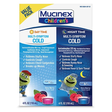 Children's Mucinex Day / Night Multi-Symptom Cold Liquid Berry - 8 fl oz