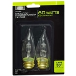 Living Solutions Halogen Chandelier Flame Tip Bulb, 60 Watts Clear