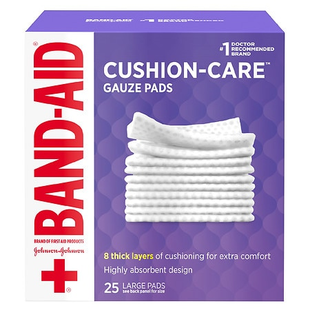 Band-Aid First Aid Gauze Pads Large (4 Inch x 4 Inch) - 25 ea