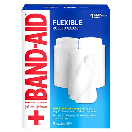 Band-Aid Rolled Gauze 4 Inches X 2.1 Yards Large - 5 ea