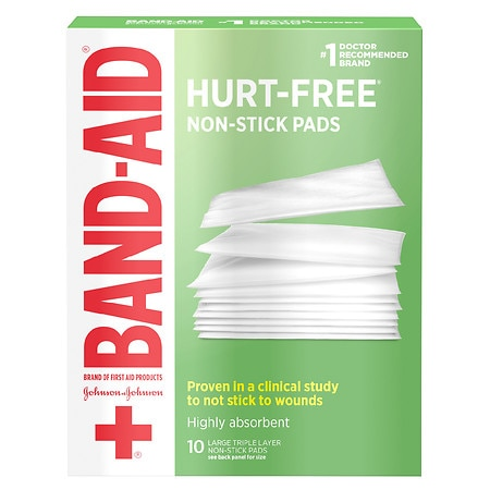Band-Aid Hurt-Free Non-Stick Pads, 3 Inches X 4 Inches Large - 10 ea