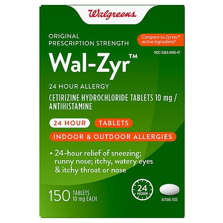 Walgreens Wal-Zyr 24 Hour Allergy 10mg Tablets