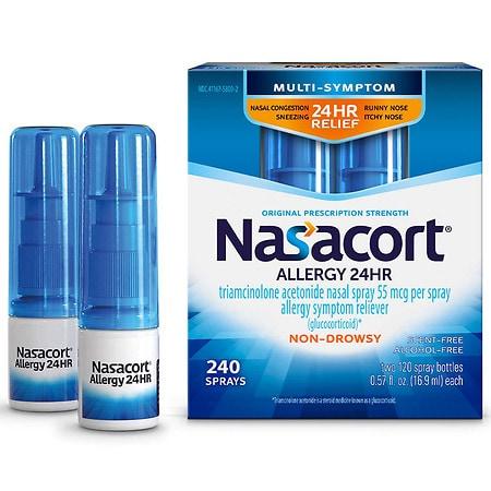 Nasacort Allergy 24 Hour Spray 240 Sprays - 1 fl oz x 2 pack