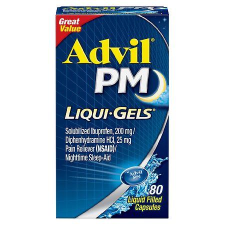 Advil PM Liqui-Gels Pain Reliever & Nighttime Sleep Aid Liquid Filled Capsule - 80 ea