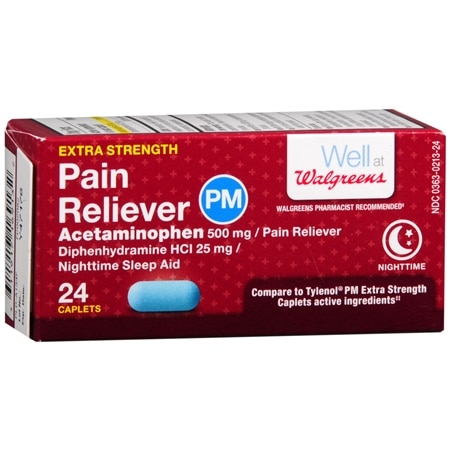 Walgreens Extra Strength Pain Reliever PM Caplets - 150 ea