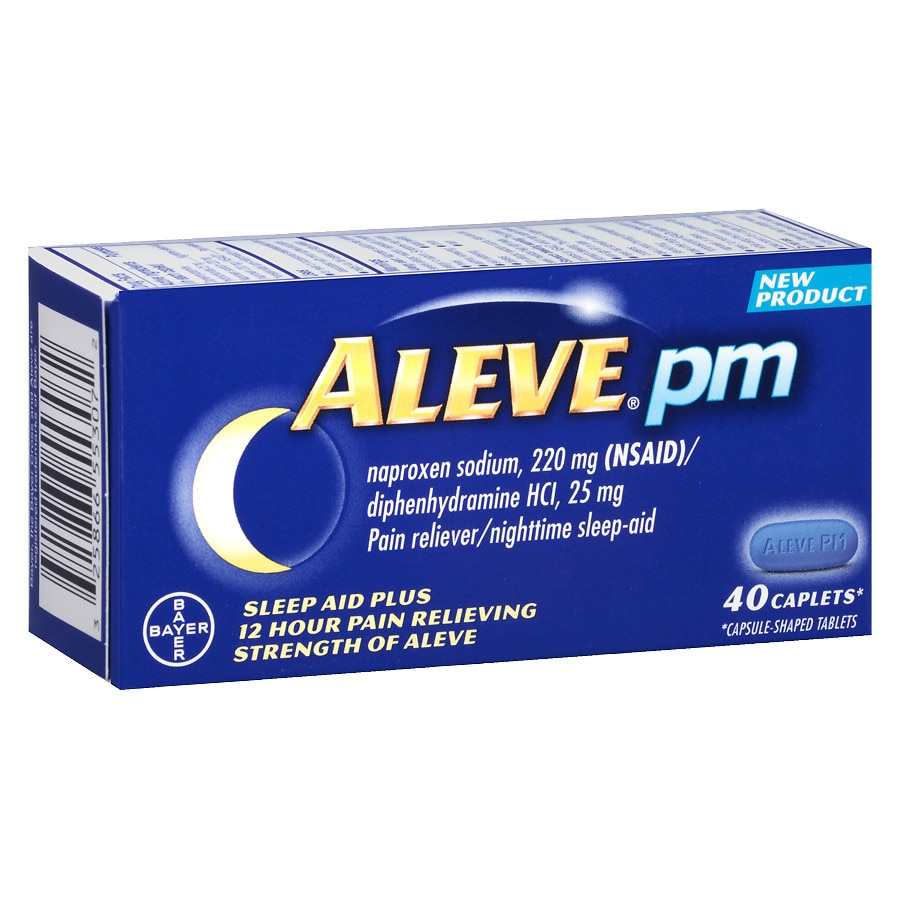 aleve pm pain reliever, nighttime sleep-aid caplets | walgreens