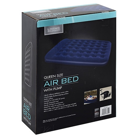 Living Solutions Flocked Air Bed With Pump Queen Walgreens