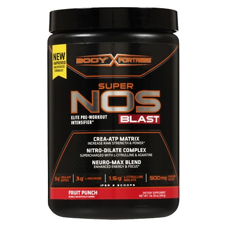 Body Fortress Super NOS Blast Fruit Punch - 16 oz.