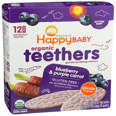 Happy Baby Gentle Teethers Organic Teething Wafers Blueberry & Purple Carrot - 2 ea x 12 pack