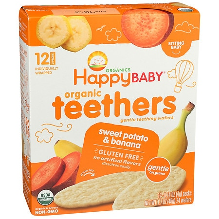 Happy Baby Gentle Teethers Organic Teething Wafers Banana & Sweet Potato - 12 ea x 12 pack