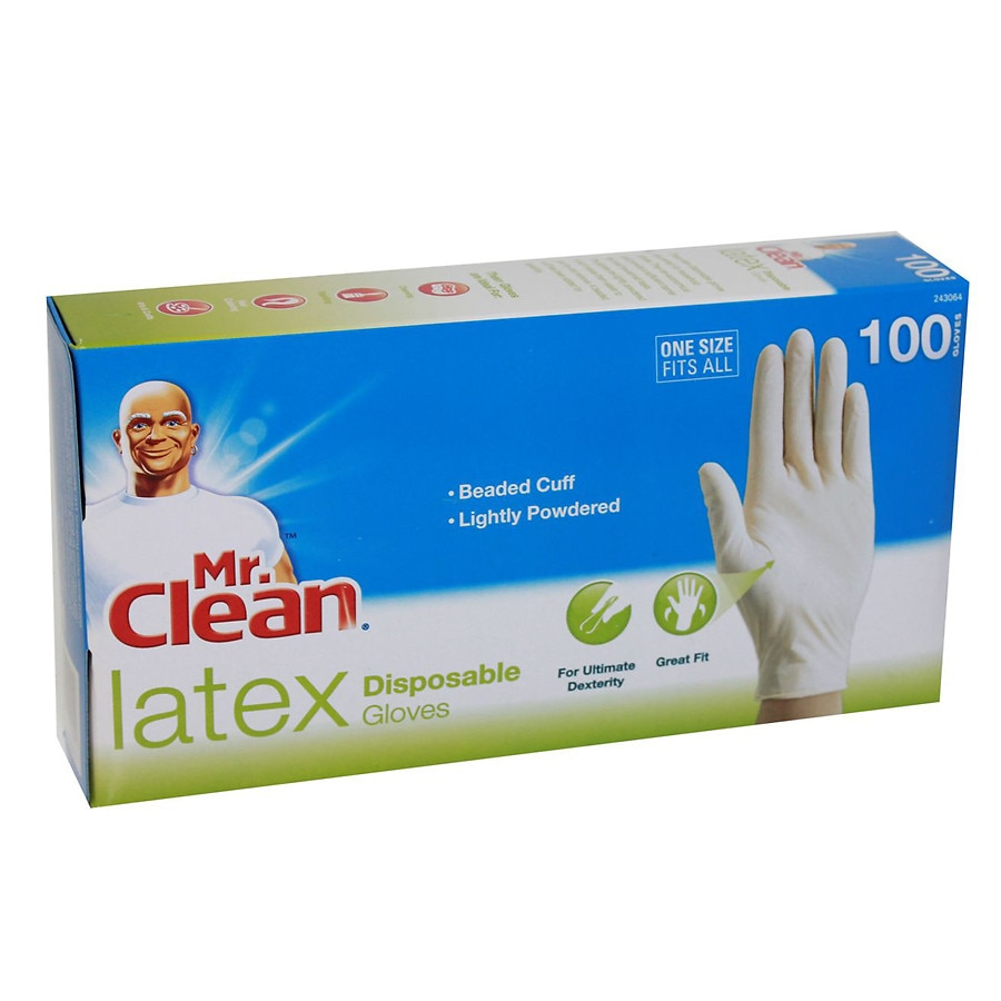 Mr  Clean Latex Disposable Gloves White