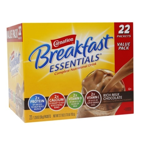 Carnation Breakfast Essentials Complete Nutritional Drink, Packets Rich Milk Chocolate - 1.26 oz. x 22 pack