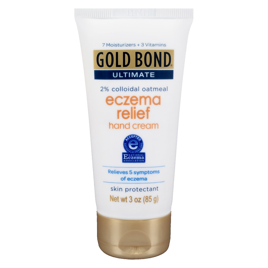 GOLD BOND® Ultimate Eczema Relief goes beyond other leading eczema products with 2% colloidal oatmeal to help break the itch-scratch cycle. The steroid-free, patented formula blends colloidal oatmeal, 7 moisturizers, and 3 vitamins to relieve itch, dryness, scaling/peeling, roughness, and redness/irritation.