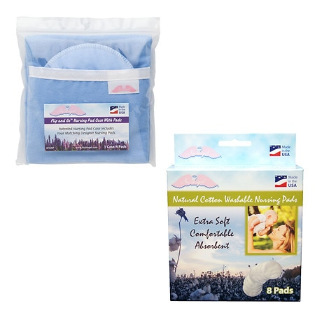 NuAngel Flip & Go Nursing Pad Case with All-Natural Washable Nursing Pad Set - 1 ea