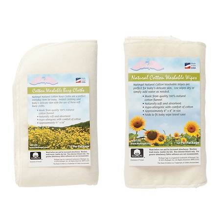 NuAngel All-Natural Single Layer Cotton Burp Cloths & Washable Cotton Wipes Set - 1 ea