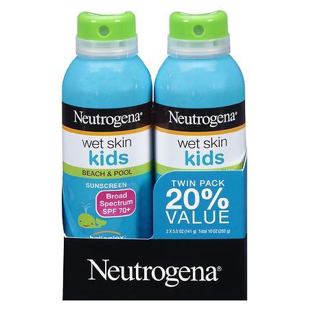 Neutrogena Wet Skin Kids Beach & Pool Sunscreen Spray, SPF 70+ - 5 fl oz x 2 pack