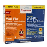 Walgreens Wal-Flu Severe Cold & Cough Daytime/ Nighttime Combo Pack Packets Berry with Menthol & Green Tea
