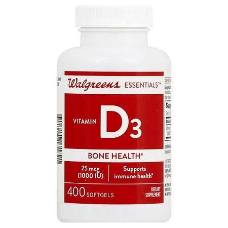 Walgreens Vitamin D3 Bone Health, 1000 IU, Softgels - 400 ea